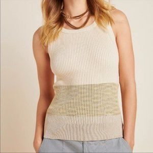 🆕 Anthropologie Jo Sweater Tank Taupe L NWT